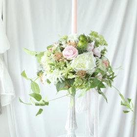 フラワーアレンジメント~ウェディング会場装飾のキャンドルアレンジメント~オーダーメイド品